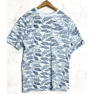 Fish Print T Shirt Tee Small Blue Cotton Excellent